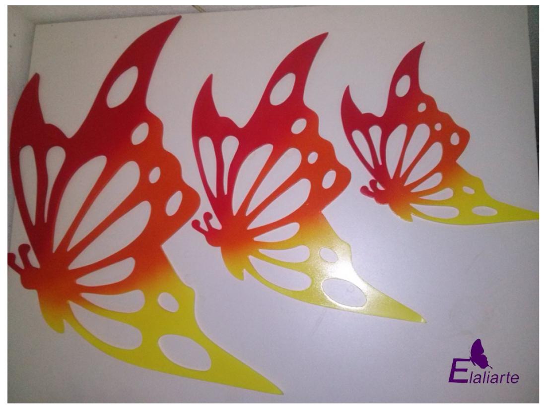 Trio borboleta degradê